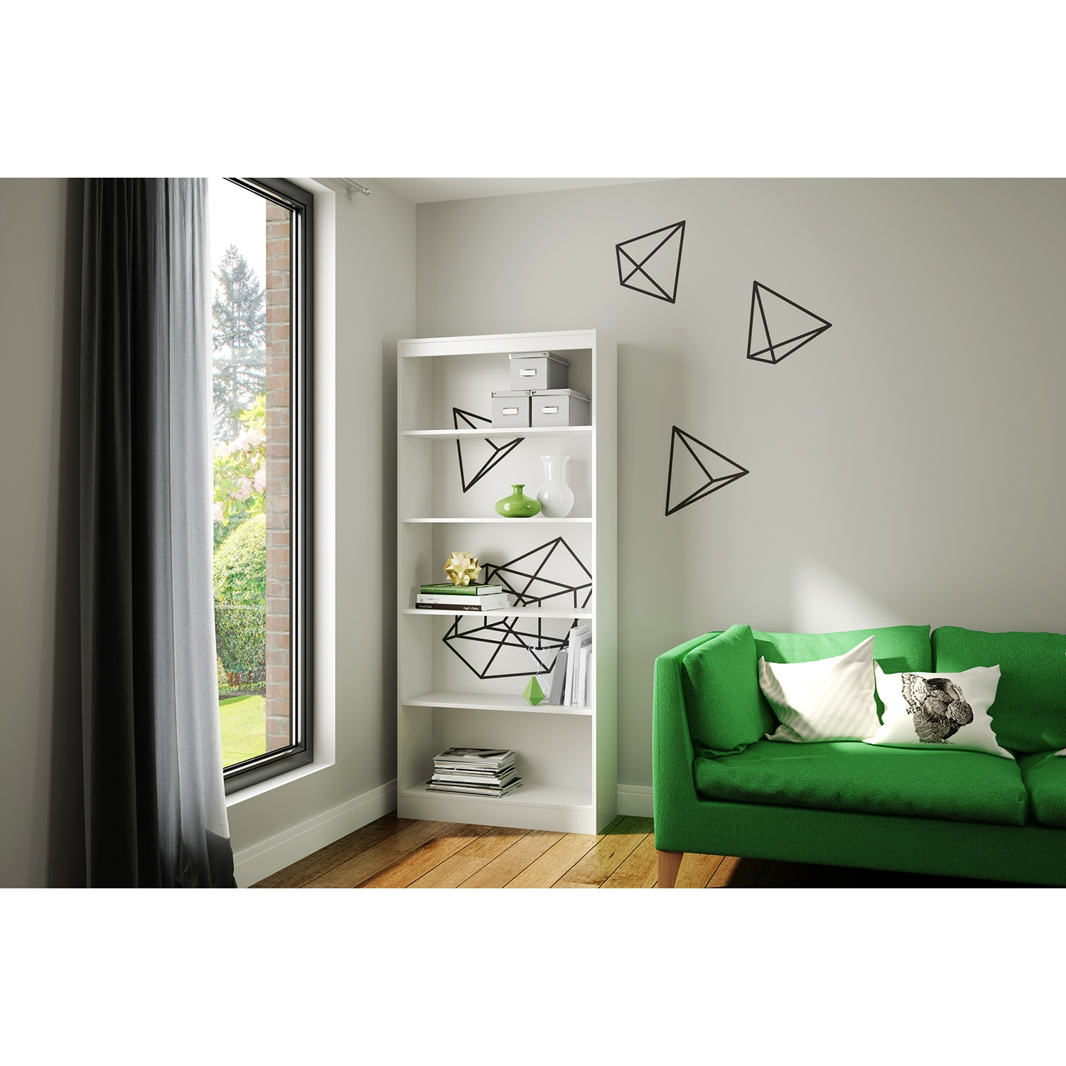 Axess Bookcase - 5 Shelves, Prisms Decals, Pure White - SS-8050137K