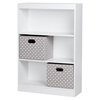 Axess Bookcase - 2 Storage Baskets, 3 Shelves, Pure White - SS-8050141K