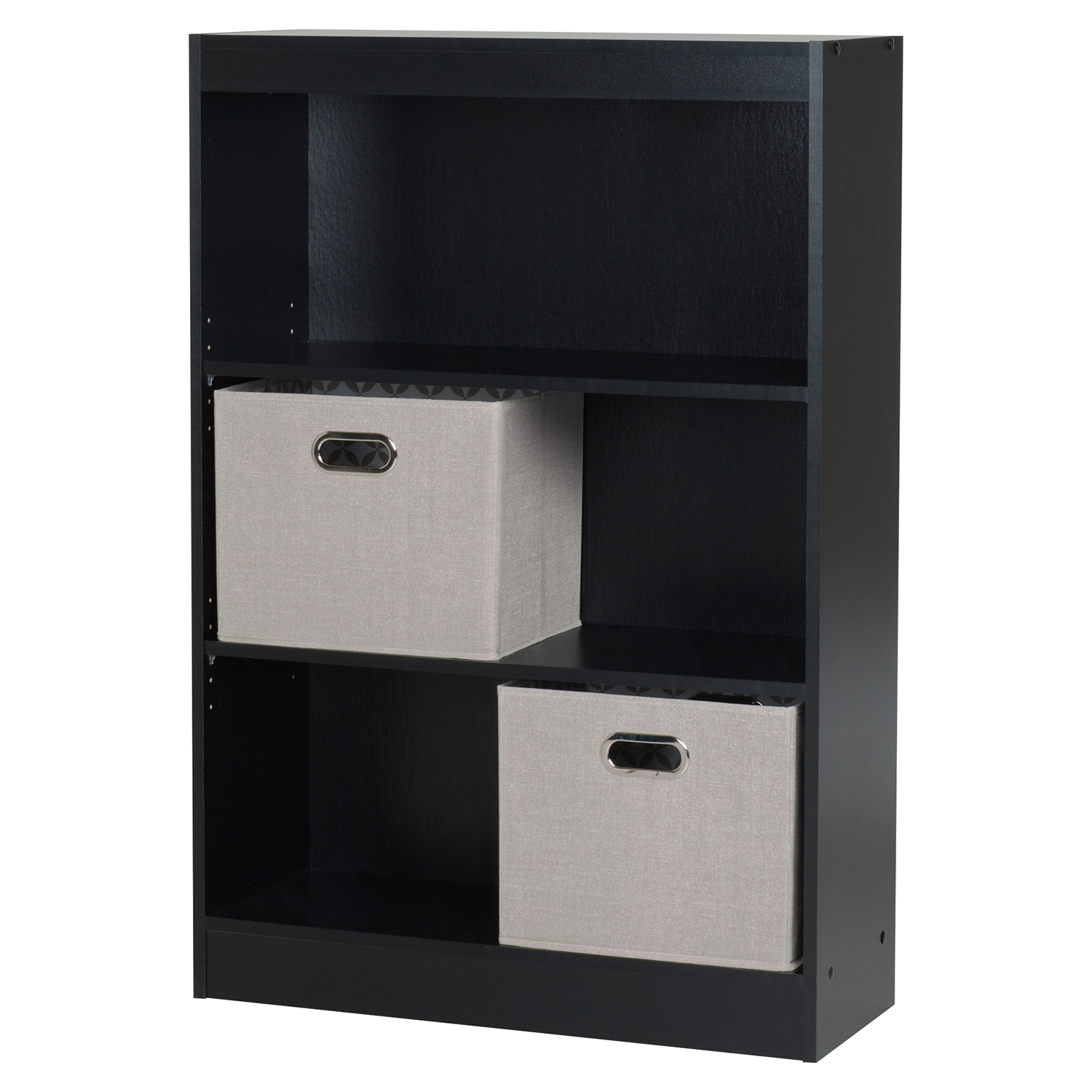 Axess Bookcase - 2 Storage Baskets, 3 Shelves, Pure Black - SS-8050144K