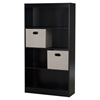Axess Bookcase - 2 Storage Baskets, 4 Shelves, Pure Black - SS-8050145K
