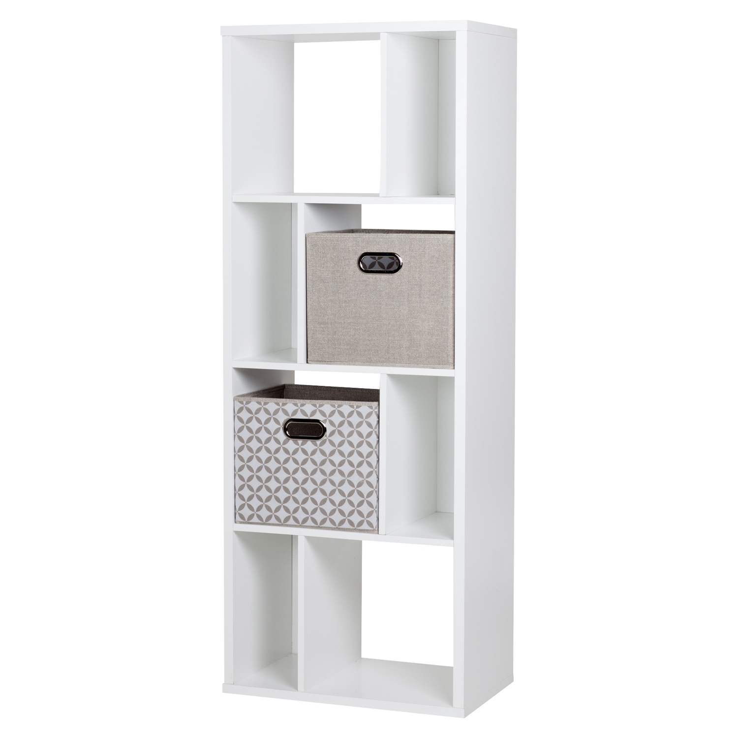 Reveal 8 Cubes Shelving Unit - 2 Fabric Storage Baskets, Pure White - SS-8050154K