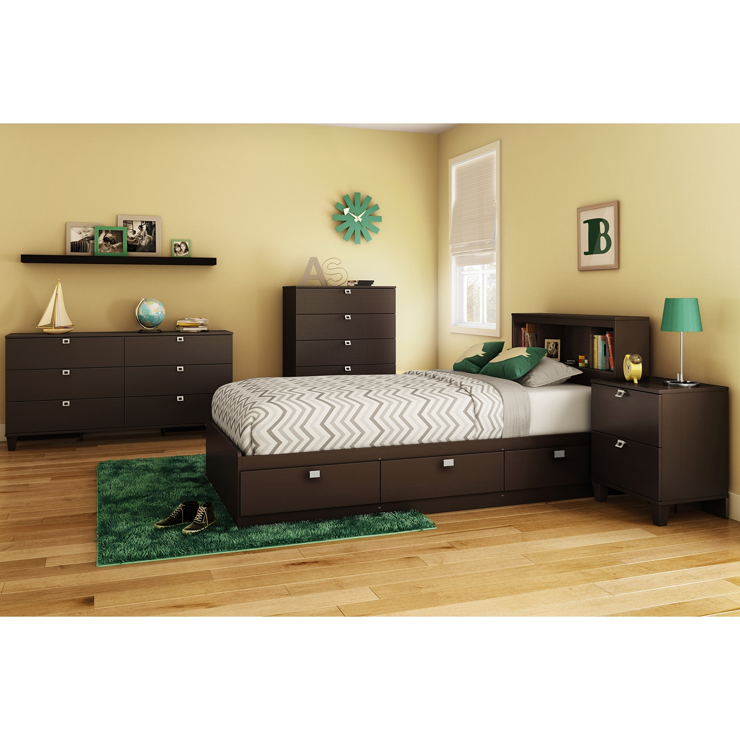 Karma Twin Mates Bed - 3 Drawers, Chocolate - SS-9000C1