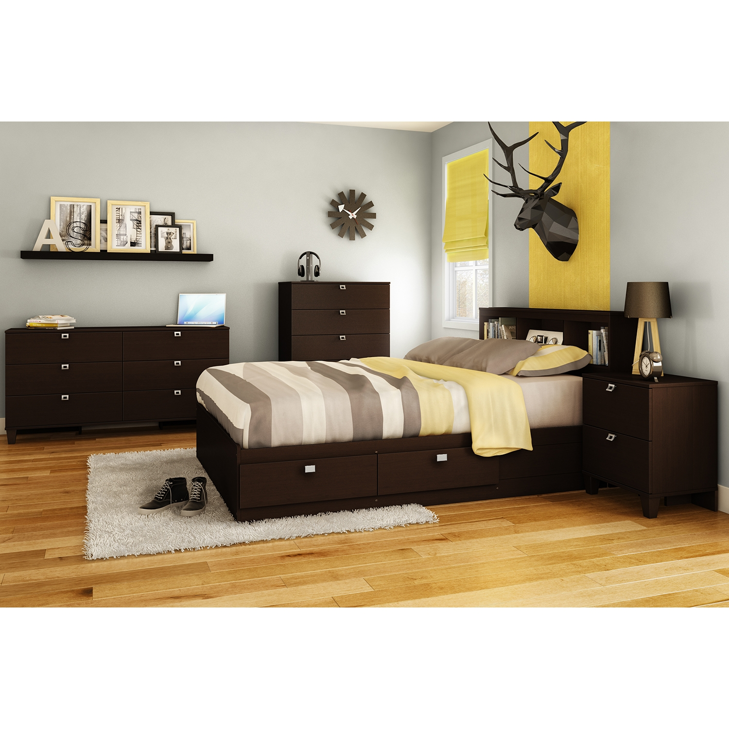 Karma Full Bookcase Headboard - Chocolate - SS-9000A1