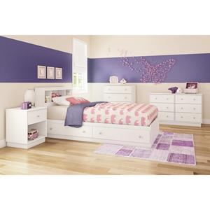 Litchi Twin Mates Bedroom Set - 2 Drawers, Pure White