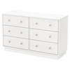 Litchi 6 Drawers Double Dresser - Pure White - SS-9011027