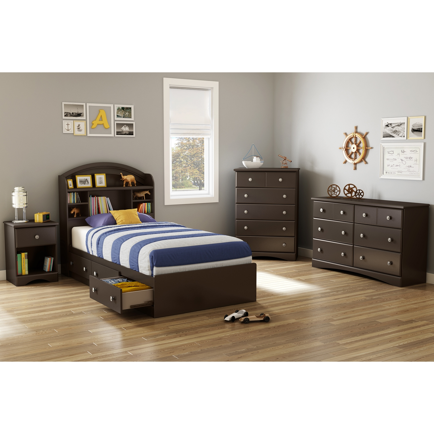 Morning Dew 6 Drawers Double Dresser - Chocolate - SS-9016027