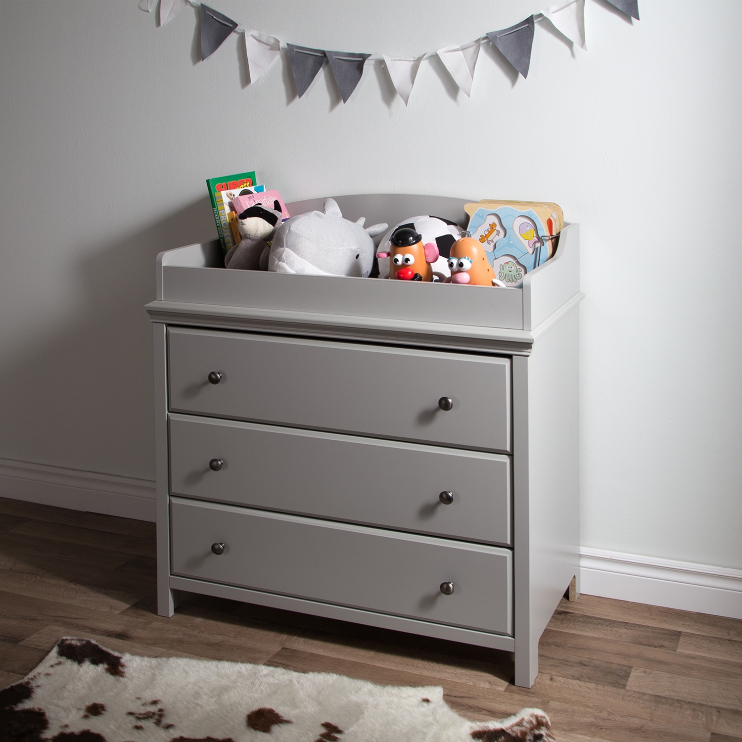 Cotton Candy Changing Table - 3 Drawers, Soft Gray - SS-9020330