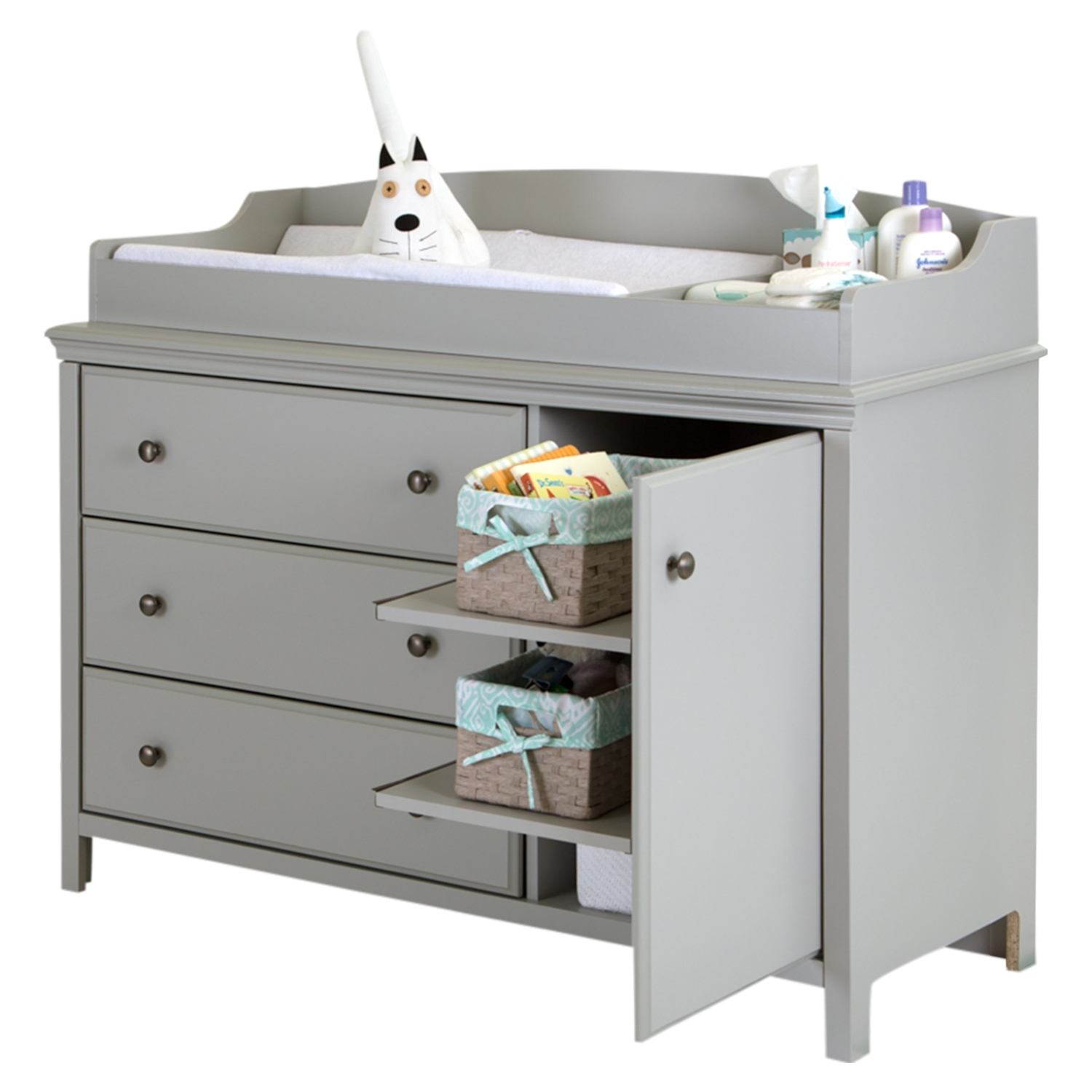 Cotton Candy Changing Table - Removable Changing Station, Soft Gray - SS-9020333