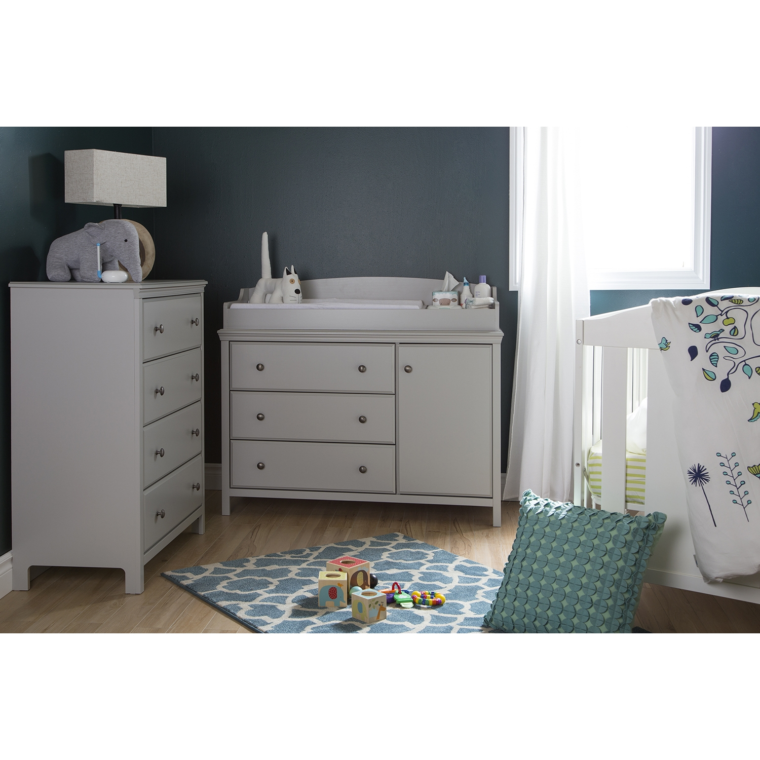 Cotton Candy Changing Table and 4 Drawers Chest - Soft Gray - SS-9020A2
