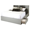 Vito Queen Mates Bed - 2 Drawers, Soft Gray - SS-9021210