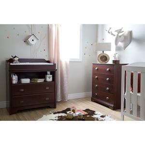 Fundy Tide Changing Table and 4 Drawers Chest - Royal Cherry