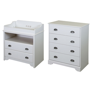 Fundy Tide Changing Table and 4 Drawers Chest - Pure White