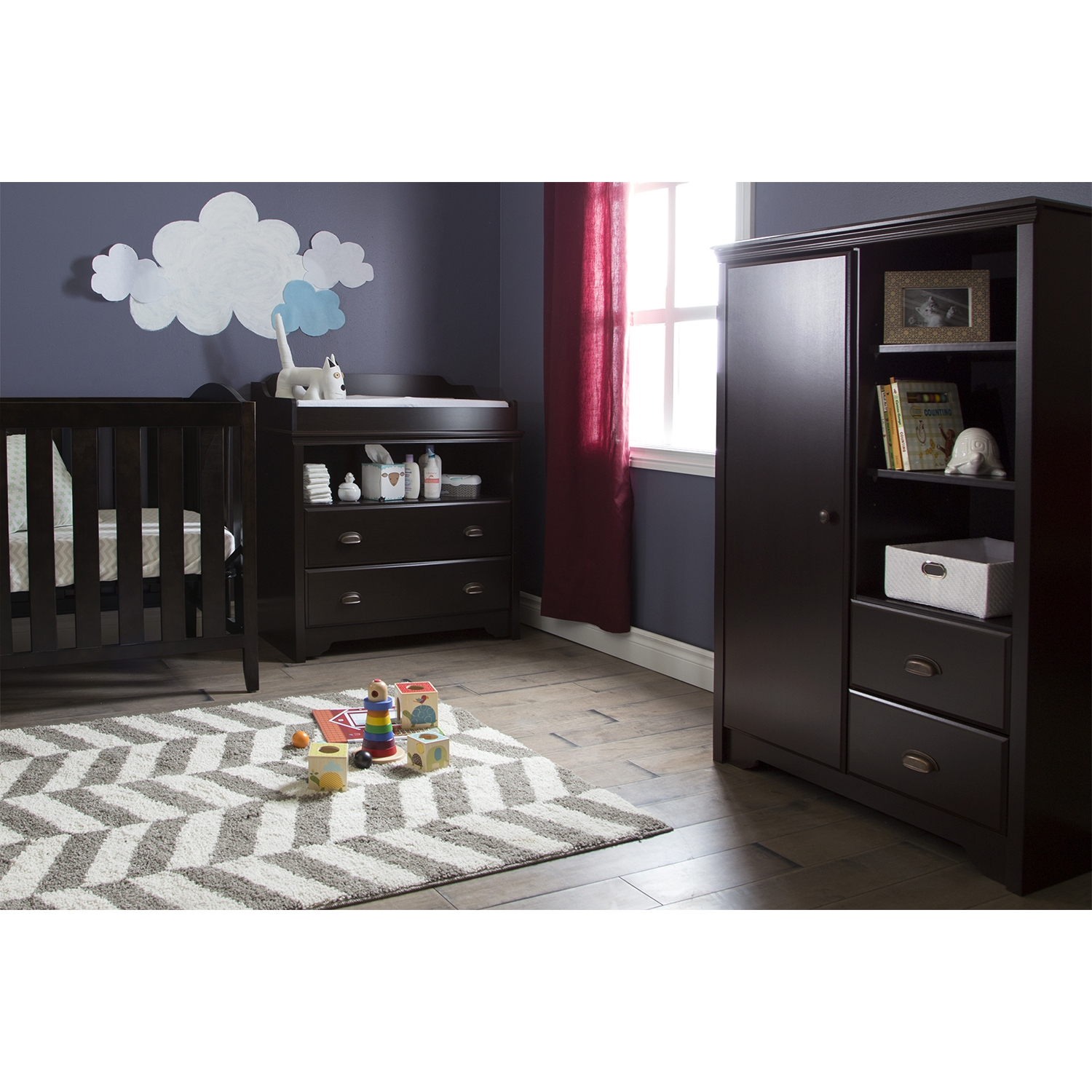 Fundy Tide Changing Table and Armoire - Espresso - SS-9024B2