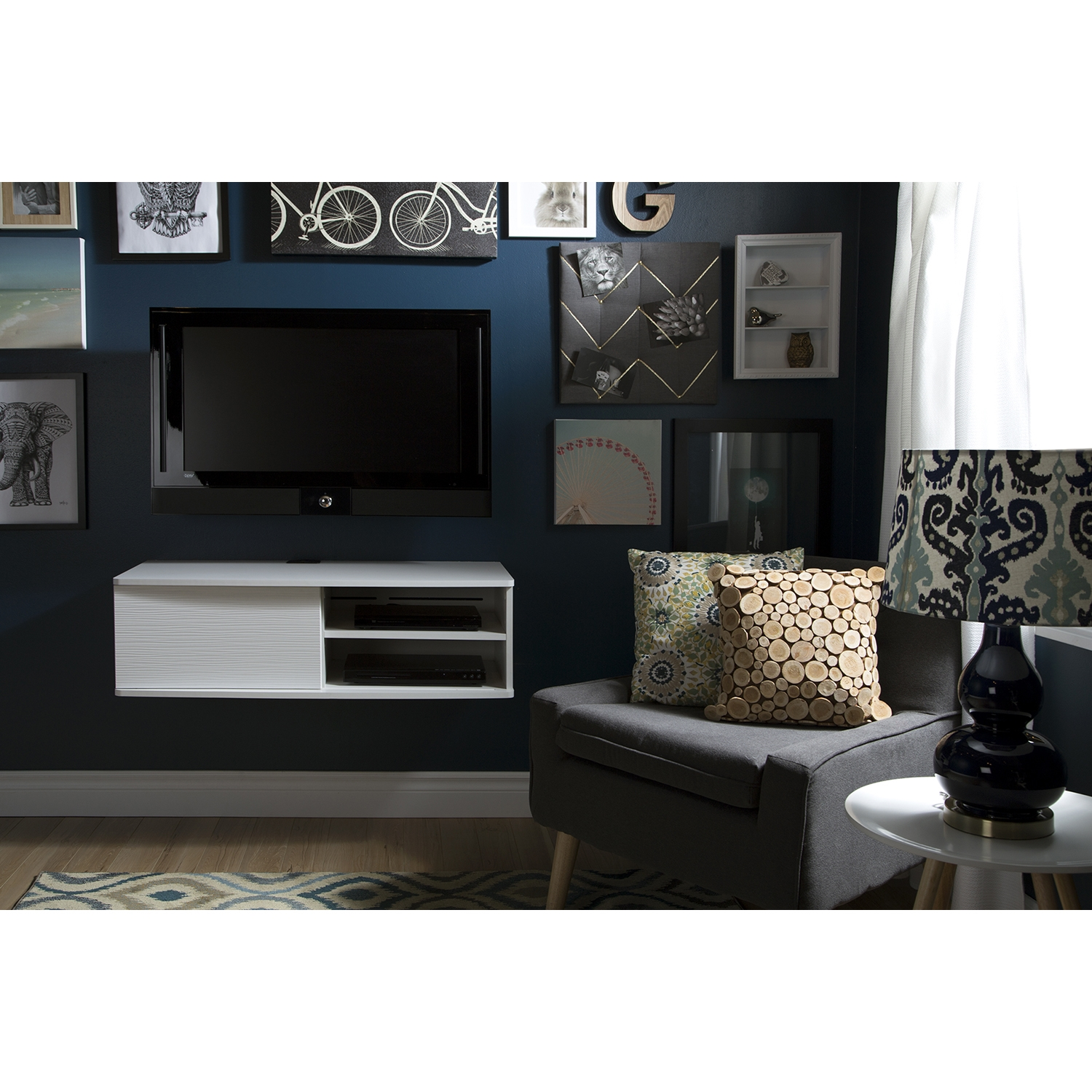 "Agora 38"" Wide Wall Mounted Media Console - Pure White - SS-9029674"