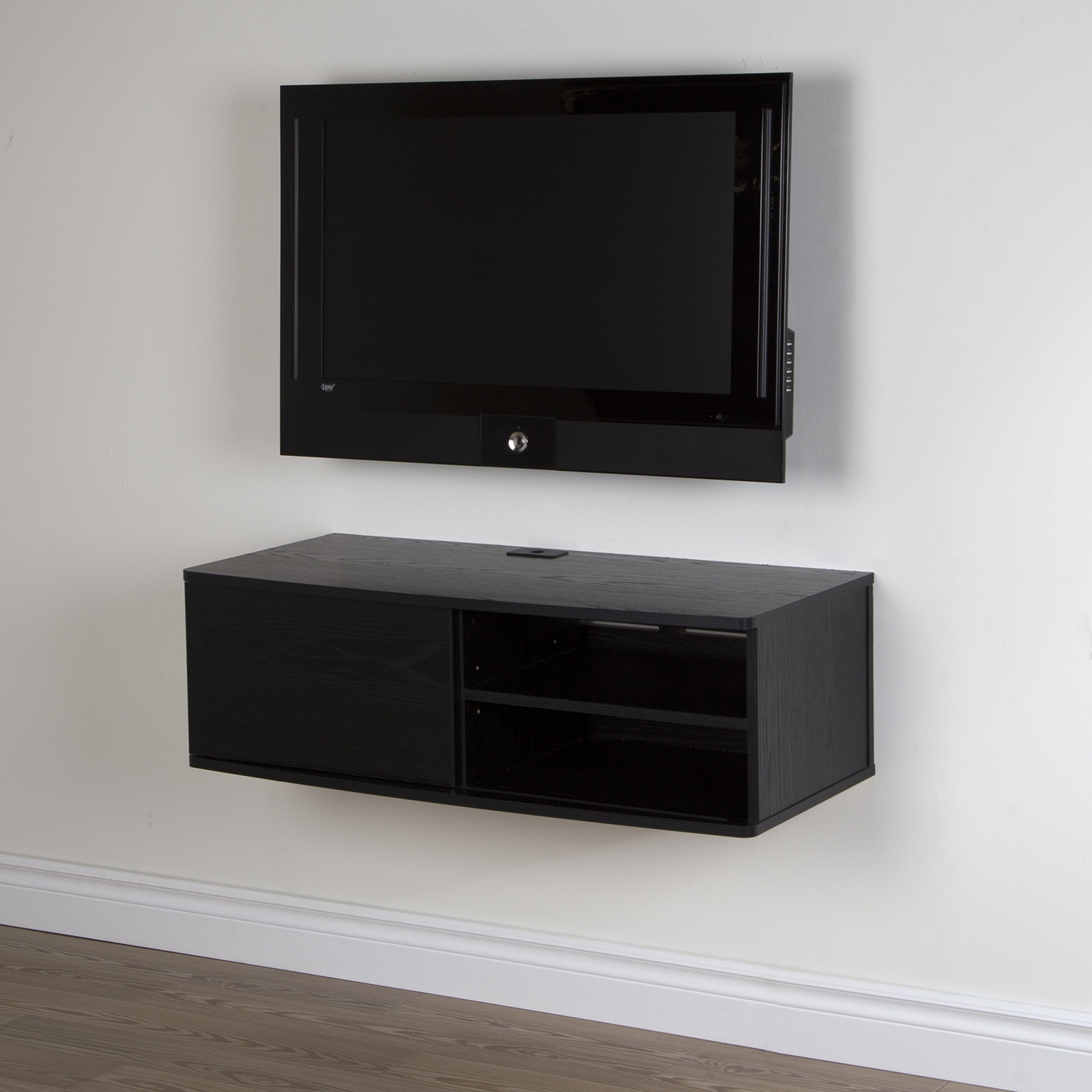 "Agora 38"" Wide Wall Mounted Media Console - Black Oak - SS-9030674"