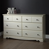 Country Poetry Double Dresser - 6 Drawers, White Wash - SS-9031027