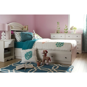 Country Poetry Twin Mates Bedroom Set - 4 Drawers, White Wash