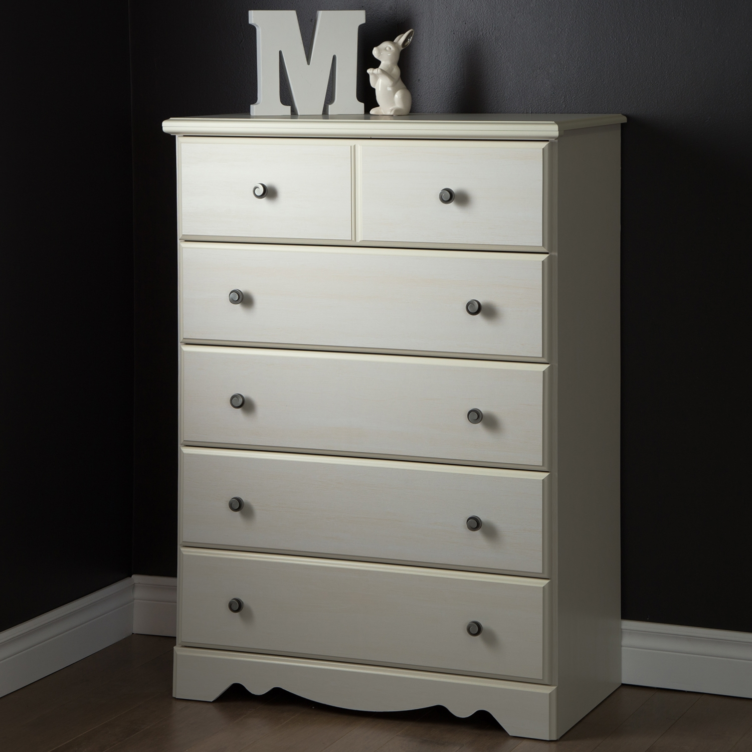 Country Poetry Chest - 5 Drawers, White Wash - SS-9031035