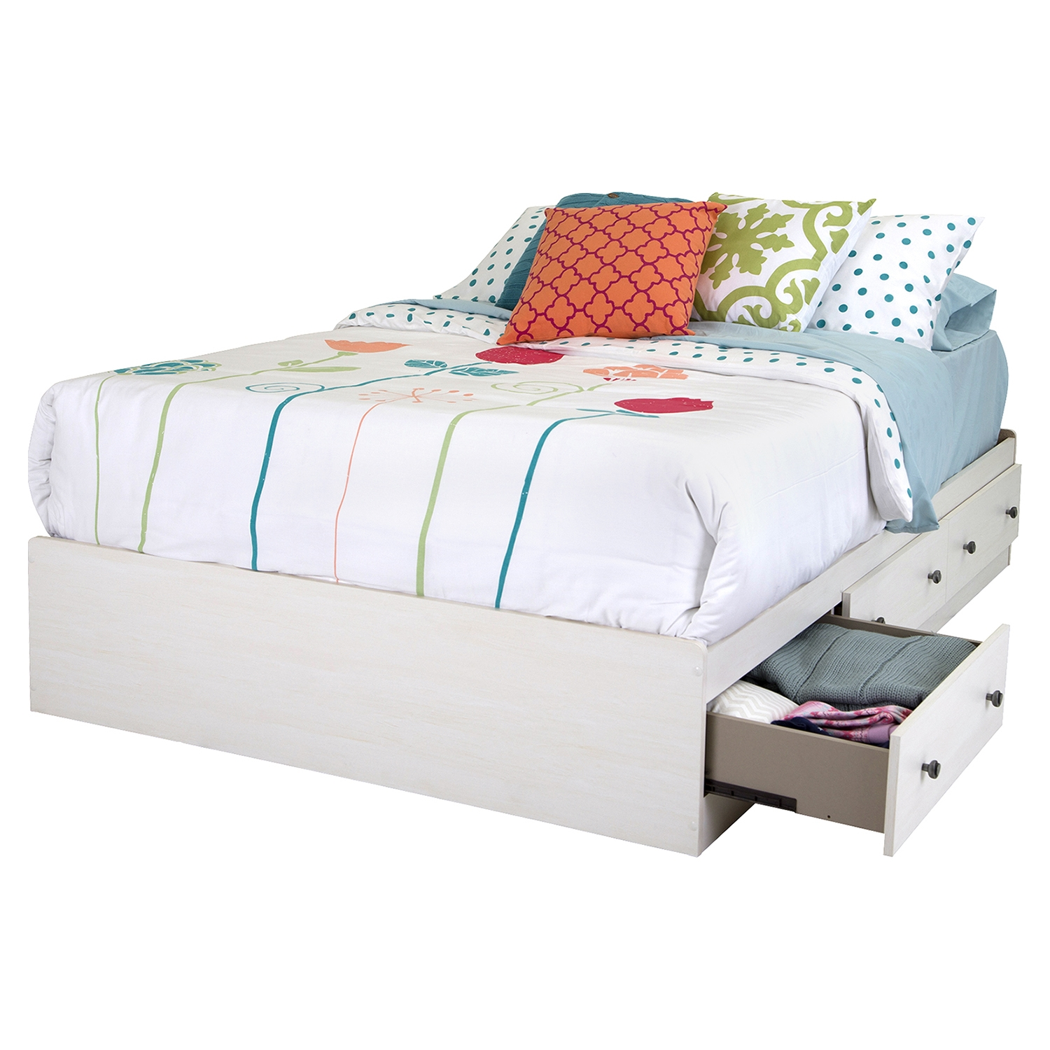 Country Poetry Full Mates Bedroom Set - 4 Drawers, White Wash - SS-9031211-BED-SET