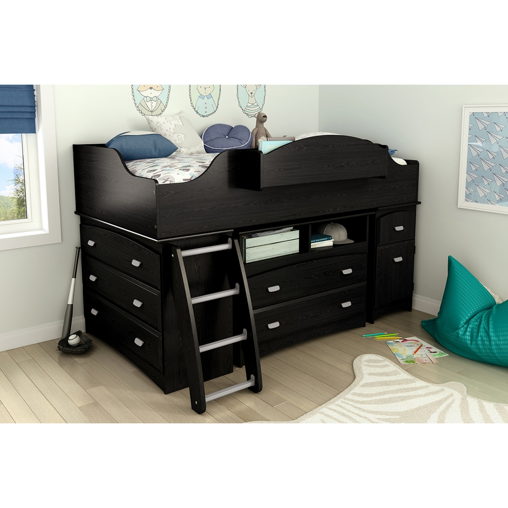 Imagine Twin Loft Bed With Storage And Chest Black Oak