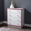 Logik 4 Drawers Chest - Pure White and Pink - SS-9039034