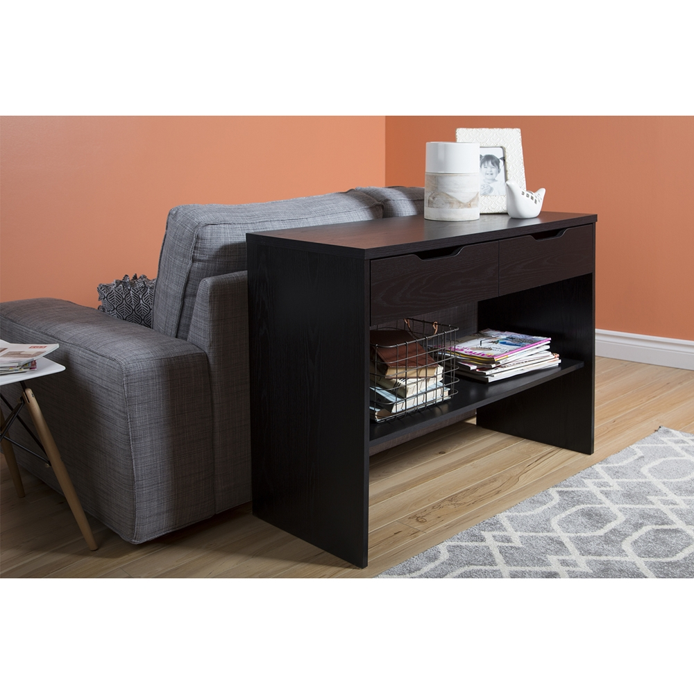 flexible console table 2 drawers black oak dcg stores. Black Bedroom Furniture Sets. Home Design Ideas