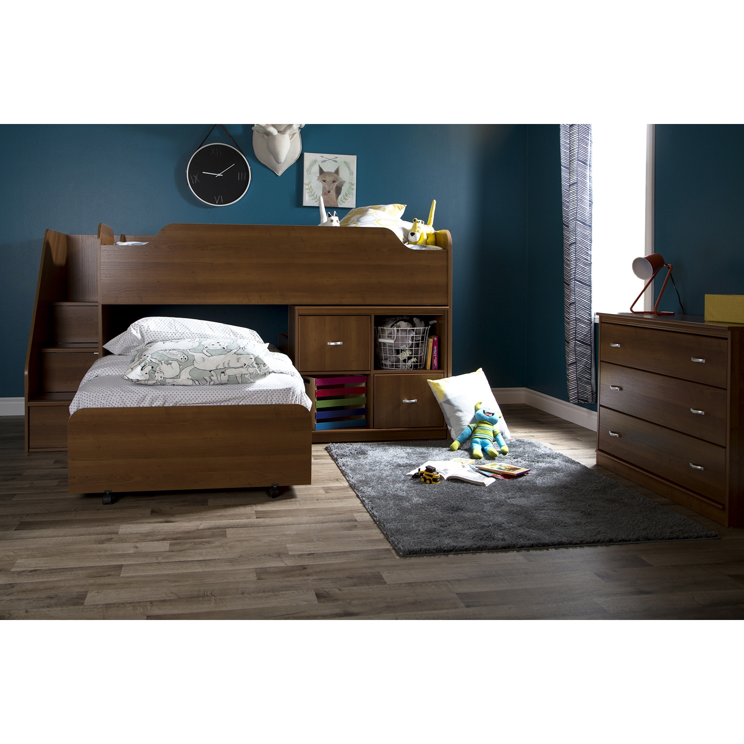 Mobby Twin Loft Bed with Stairs - Morgan Cherry - SS-9055087
