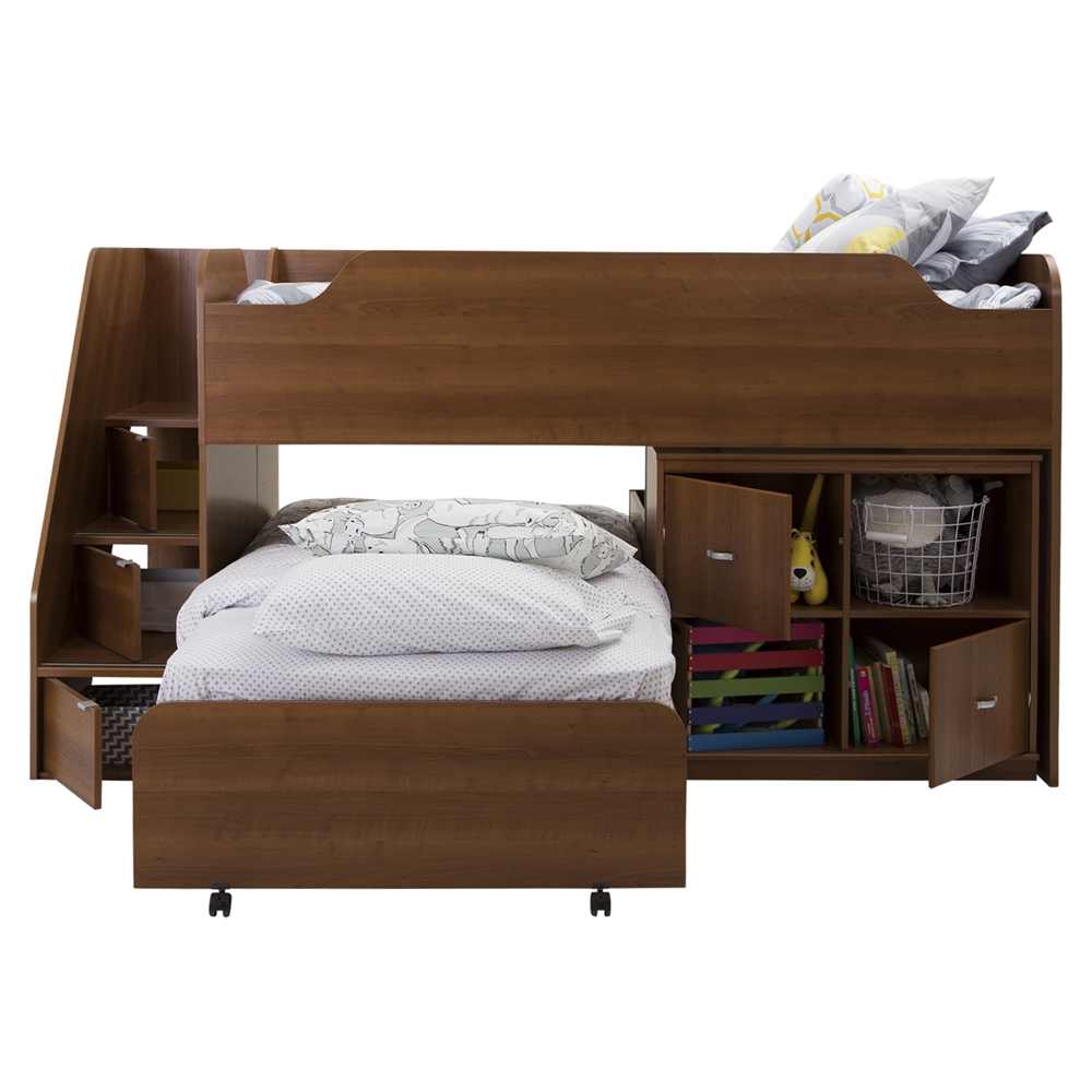 Mobby Twin Loft Bed With Stairs Trundle Storage Unit