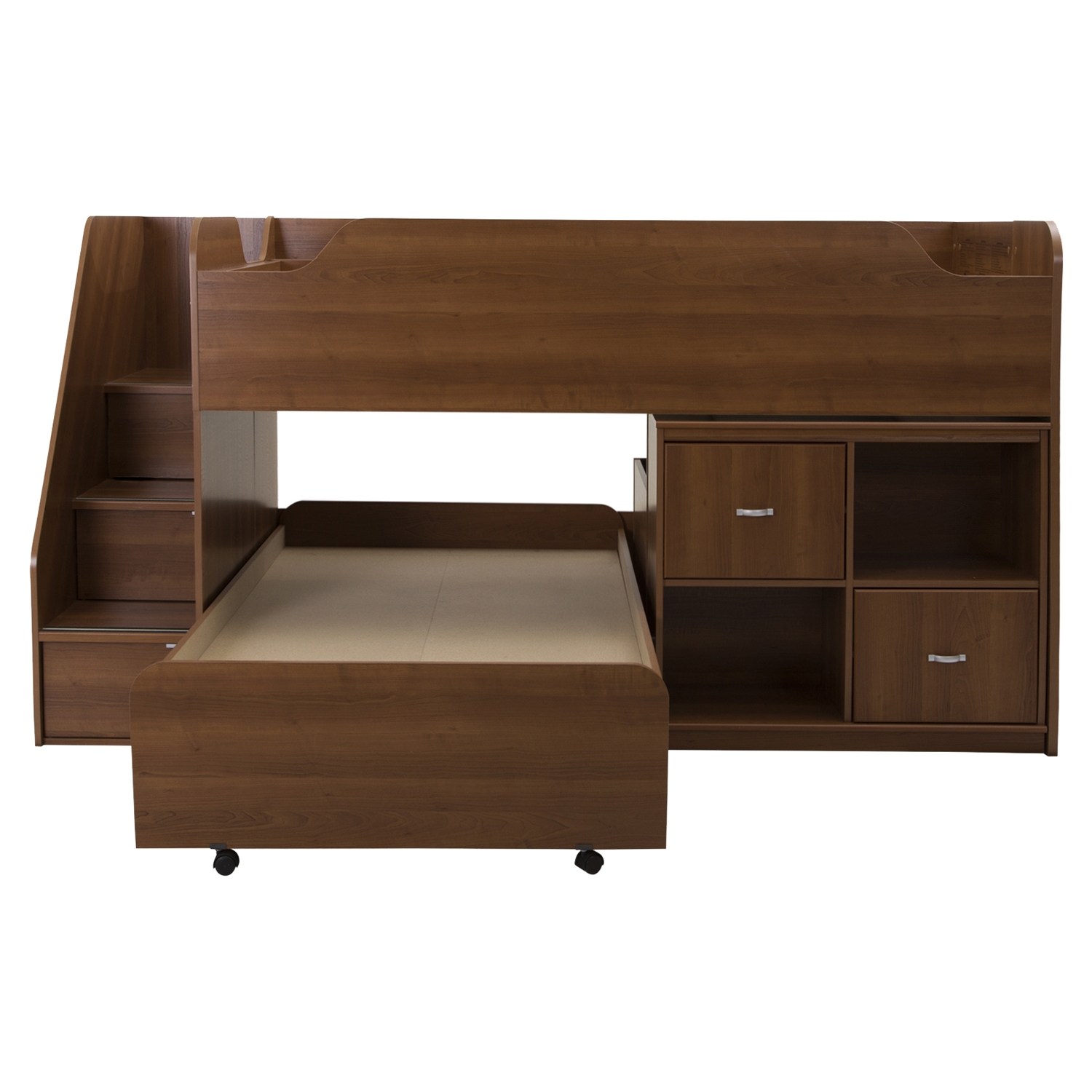 Mobby Twin Loft Bed with Stairs - Trundle, Storage Unit, Morgan Cherry - SS-9055A3