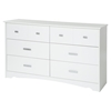 Tiara 6 Drawers Double Dresser - Pure White - SS-9059010
