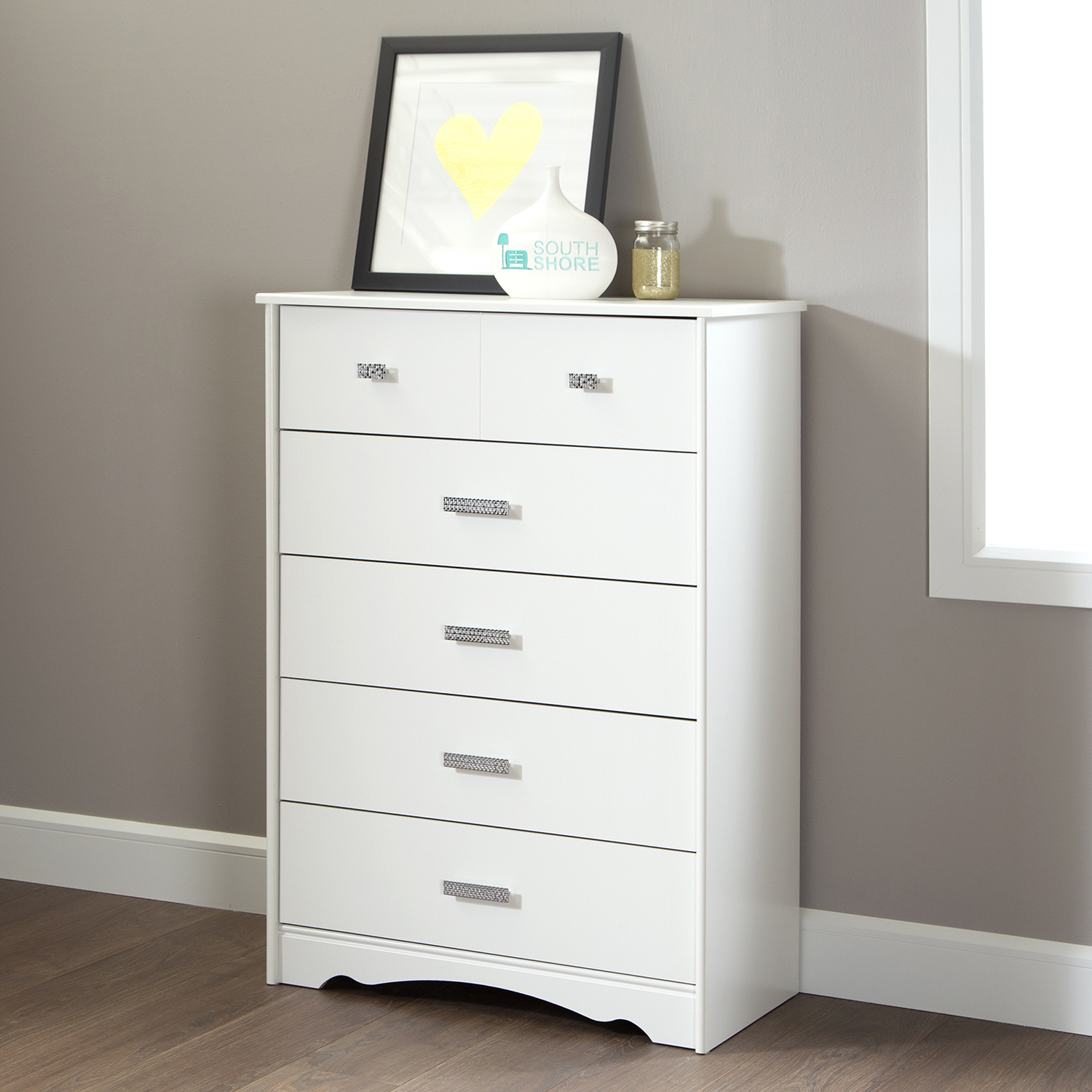 Tiara 5 Drawers Chest - Pure White - SS-9059035