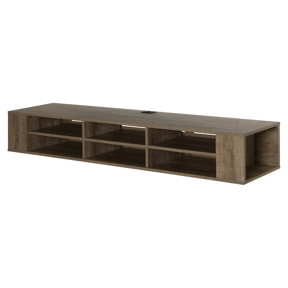 city life 66 wall mounted media console weathered oak. Black Bedroom Furniture Sets. Home Design Ideas