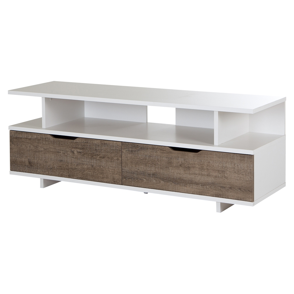 Reflekt TV Stand 2 Drawers Weathered Oak and Pure White