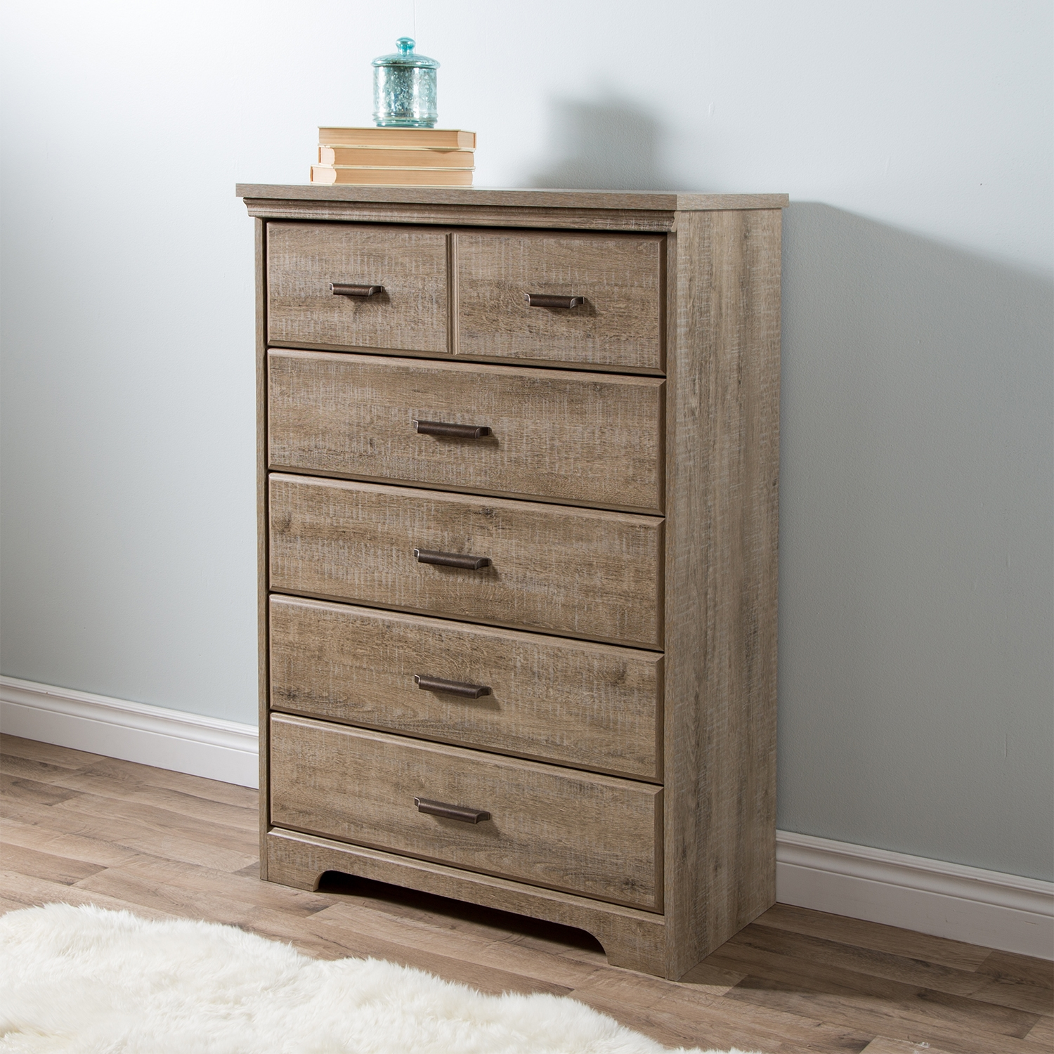 Versa 5 Drawers Chest - Weathered Oak - SS-9066035