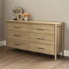 Gravity Double Dresser - 6 Drawers, Rustic Oak - SS-9068010