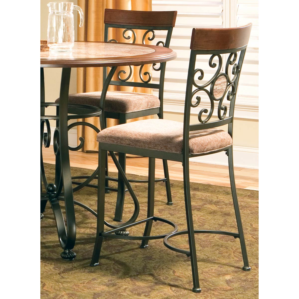 ... Thompson 5 Piece Counter Dining Set   Wrought Iron, Wood   SSC TP450   ...