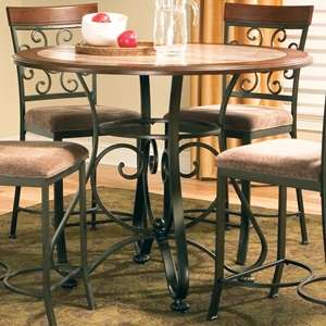 Thompson Round Counter Table - Cherry Top, Wrought Iron Base