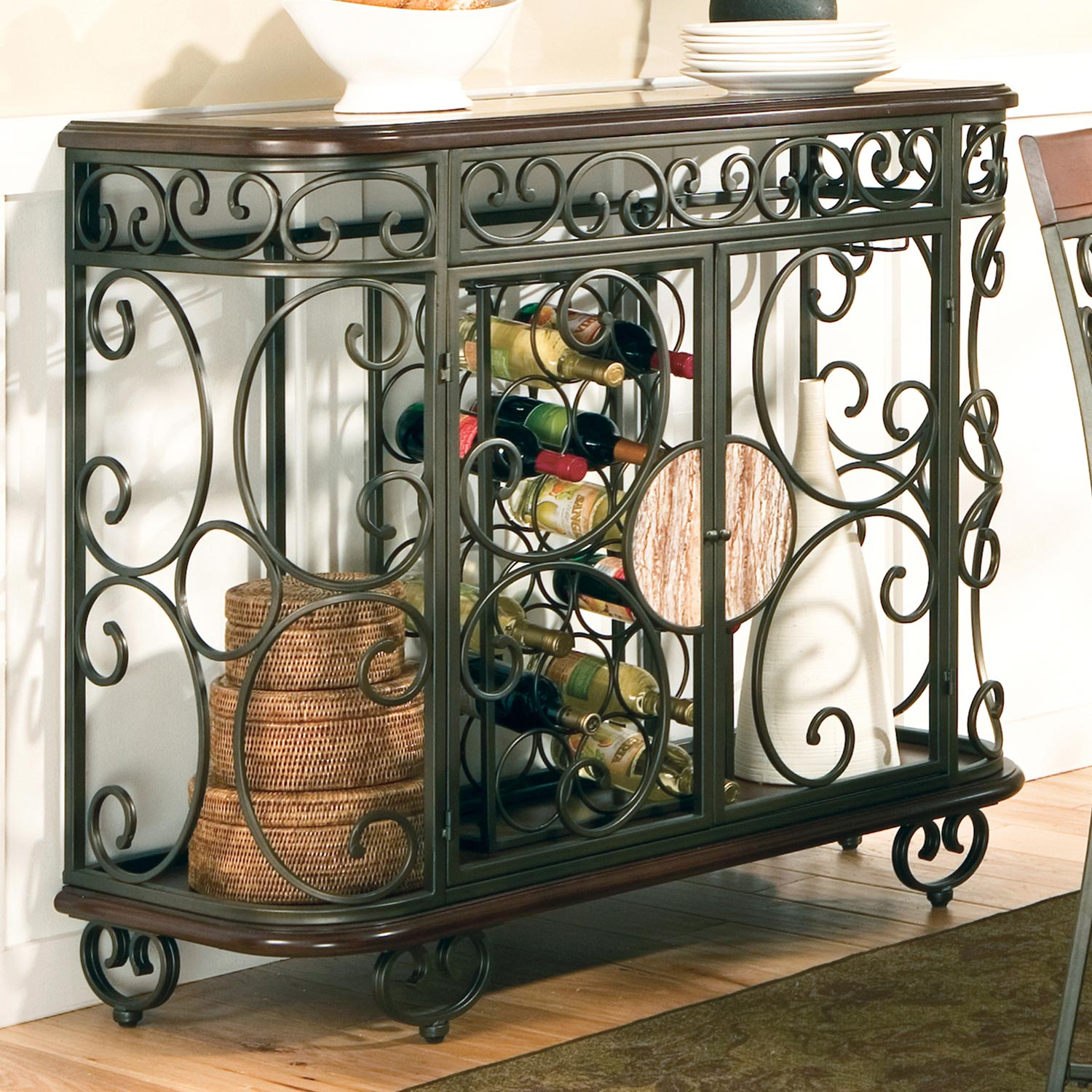 Thompson 5 Piece Counter Dining Set - Wrought Iron, Wood - SSC-TP450-CTR-5PC