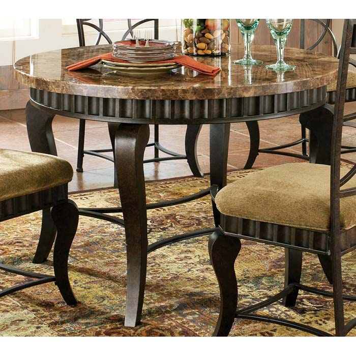 Hamlyn Earth Tone Marble Top Dinette Table DCG Stores - Marble top circle dining table