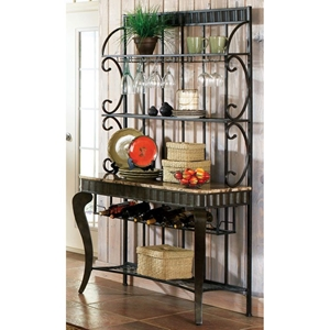 Hamlyn Large Bakers Rack in Pewter Finish