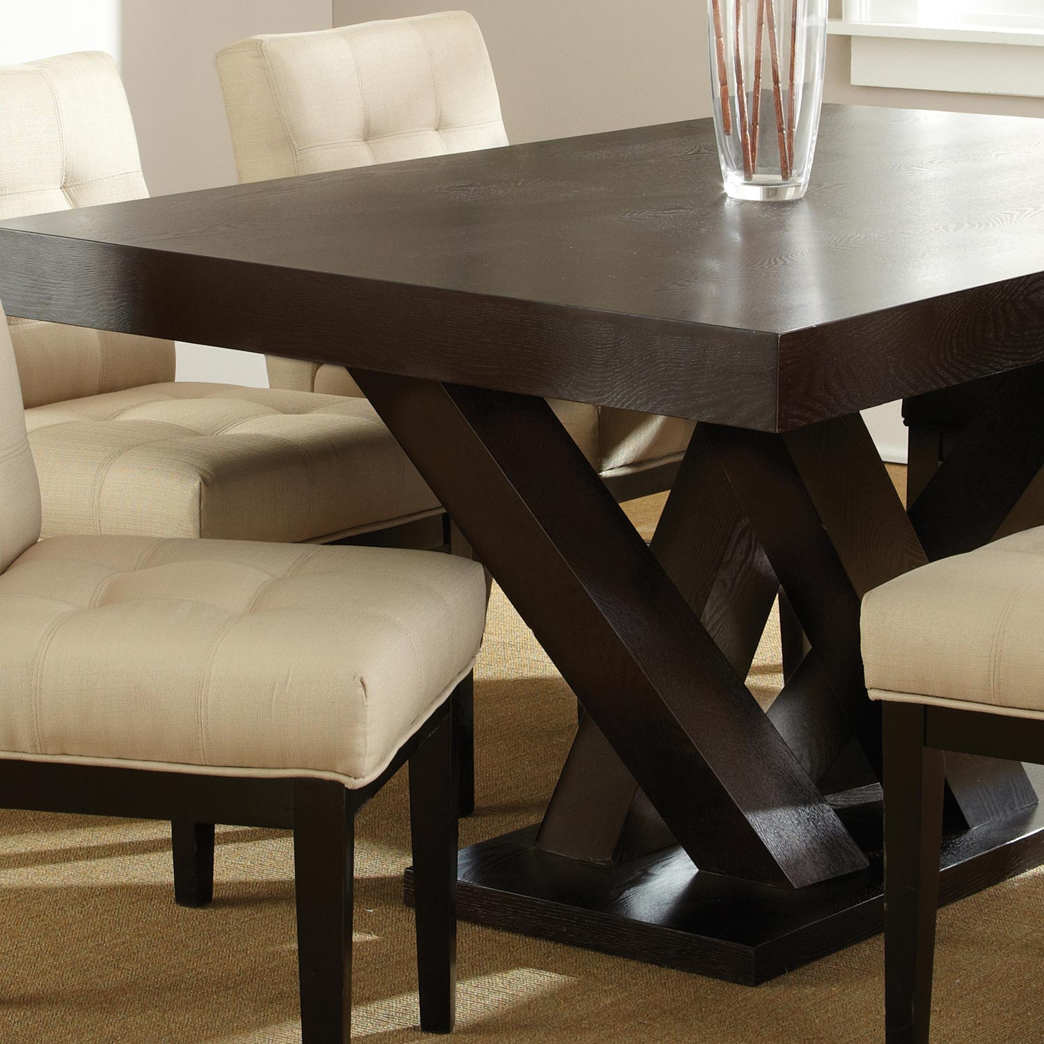 ... Tiffany 7 Piece Dining Set   Espresso, Beige Tufted Dining Chairs    SSC TF500 ...