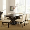 Tiffany 7 Piece Dining Set - Espresso, Beige Tufted Dining Chairs ...