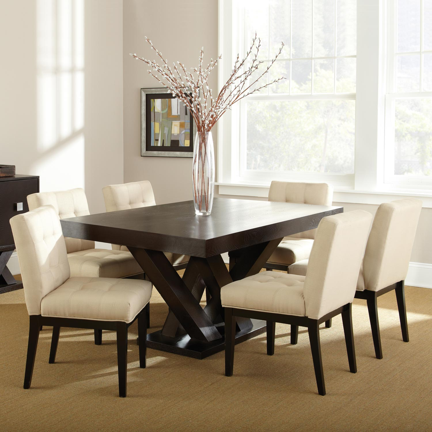 Beau Tiffany 7 Piece Dining Set   Espresso, Beige Tufted Dining Chairs    SSC TF500 ...