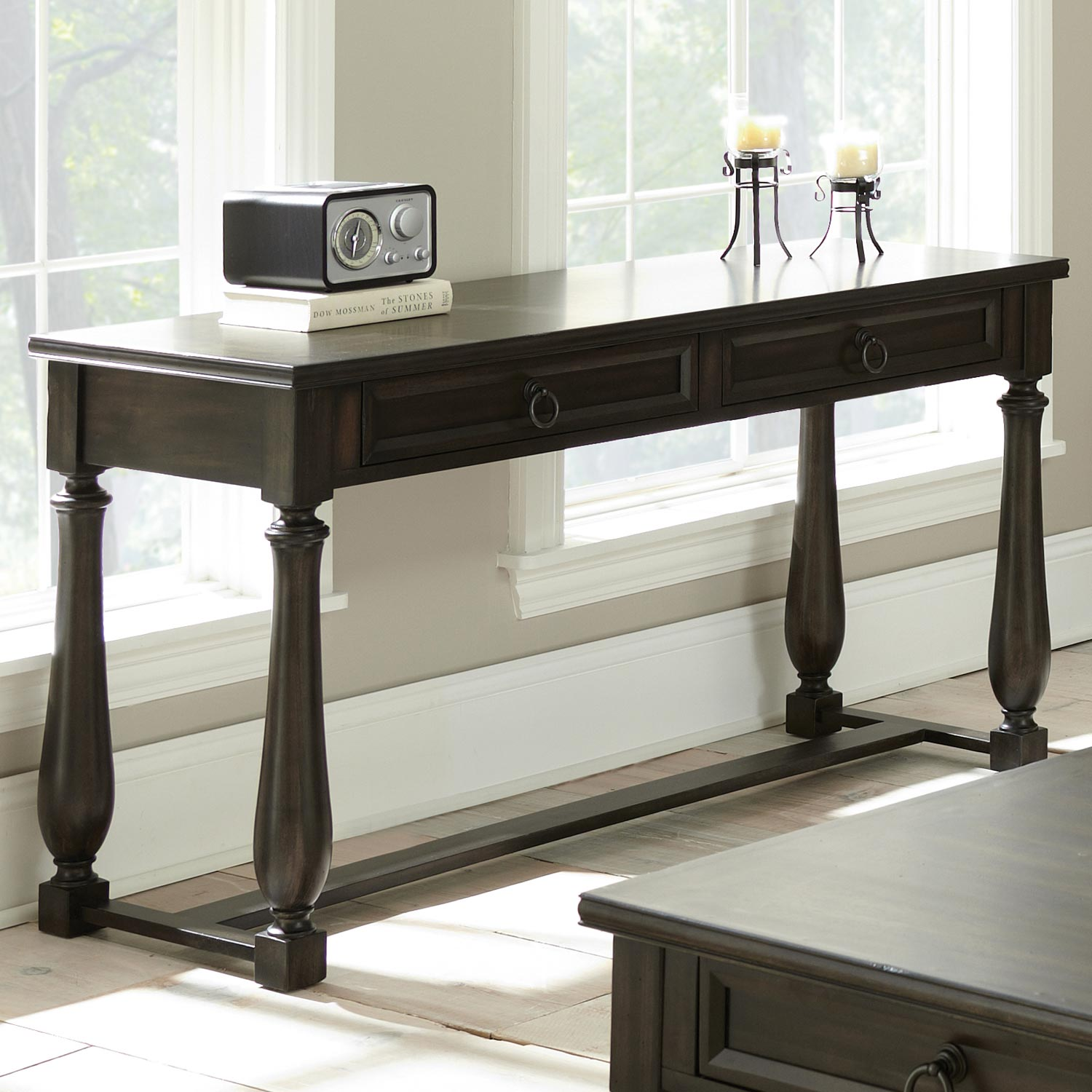 Leona Sofa Table - Turned Legs, Ring Drawer Pulls - SSC-LY150S