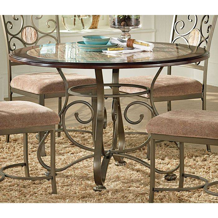 Thompson Wood And Marble Top Dinette Table DCG Stores - Marble top circle dining table