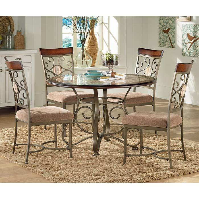 Thompson 5 Piece Dinette Set with Metal Scroll and Marble Accents