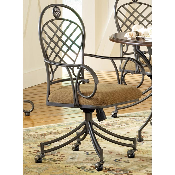 Wheeled Dining Chairs: Wimberly Swivel Armchair With Wheel Casters
