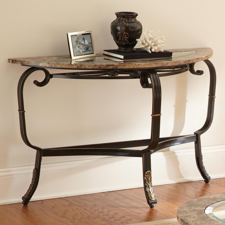 Gallinari sofa table beveled glass black metal base