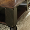Barrett Cocktail Table - Wood, Antiqued Metal, Casters - SSC-BR200CT-BR200CB