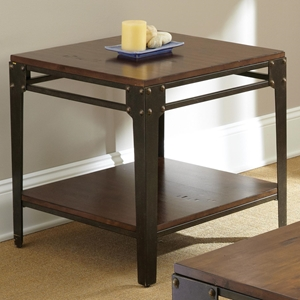 Barrett Square End Table - Wood, Antiqued Metal